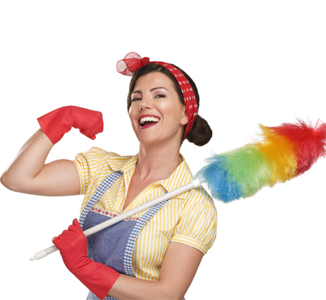 Image Cleaning with woman holding duster